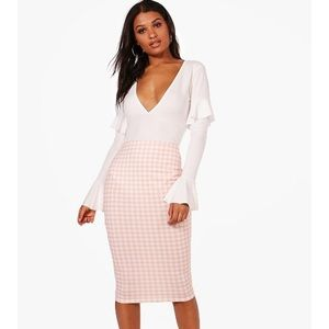 Boohoo Pink and White Gingham midi pencil skirt
