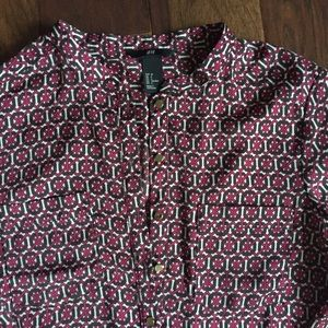 H&M silk-like blouse with gold buttons size Small
