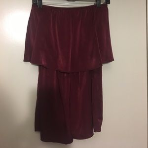 Urban Outfitters - Burgundy Satin Flounce Romper