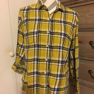 Old Navy Mustard Yellow Plaid Button Up