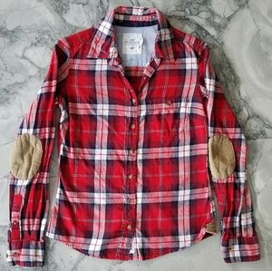 H&M Plaid Button Up with Corduroy Elbow-Pads