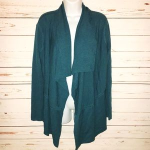 Eileen Fisher Teal Open Front Merino Wool Cardigan
