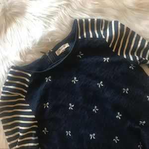 Madewell Indigo Ink Top with Bows and Stipes