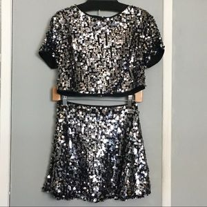 Bebe Sequin Two Piece Crop Outfit