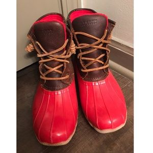 Red and Brown Sperry Rainboots