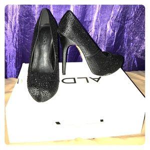 Black rhinestone studded heels