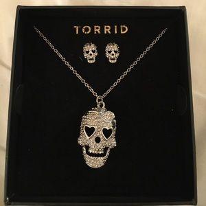 Torrid Skull necklace & earring set. New in box!