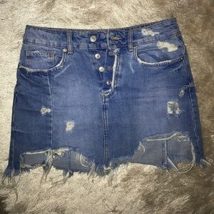 Distressed Zara denim skirt