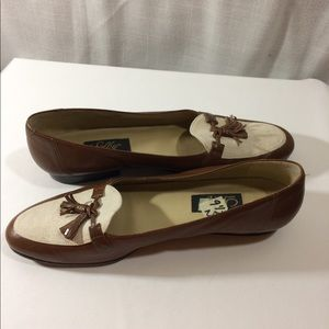 Selby Vtg Tassel Loafer Flats Brown Leather Canvas