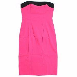 Size 8 Express Dress Pink Black Strapless