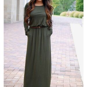 Army green long Maxi dress with pockets