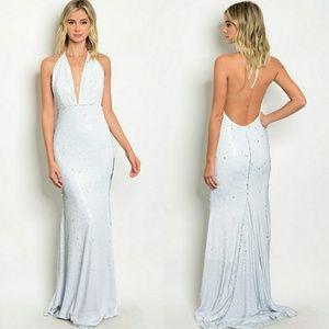 MARILYN WHITE SEQUINS DRESS