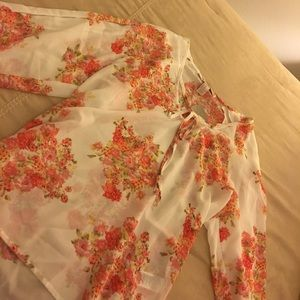 Floral long sleeve polyester blouse