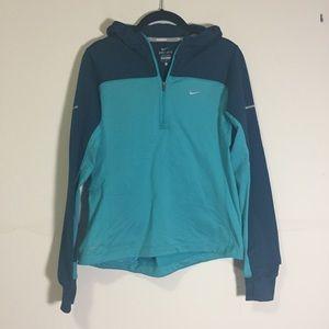 NIKE: dri fit turquoise running hoodie