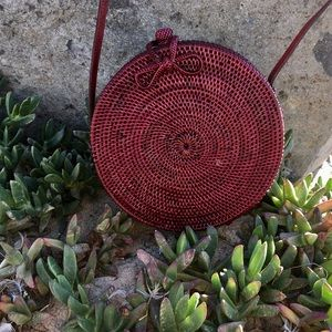 Red Round Rattan Bag with Batik Fabric Interior