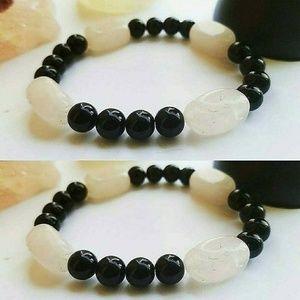 Rose Quartz and Obsidian bracelet