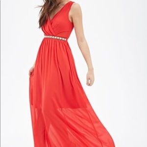 🎁Forever 21 long red formal dress & FREE GIFT!!🎁