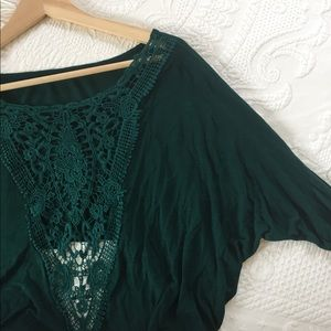 LF Evergreen Boho Lace Top