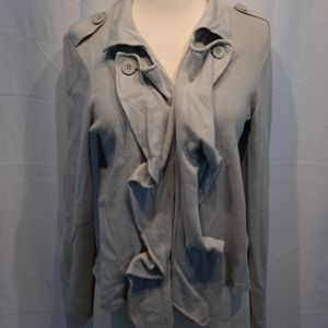 CAbi Grey Ruffle Front Button Cardigan