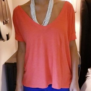 Coral open baack top