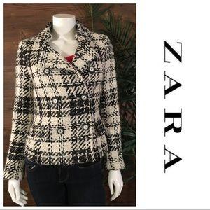 Zara Plaid Pea Coat