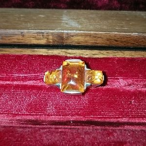 Sterling silver and amber ring sz 6.5
