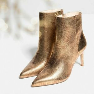 Zara Real Leather Gold Booties