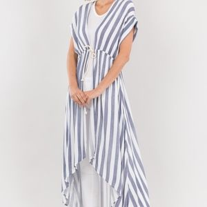 Striped Drawstring Waist High Low Cardigan Vest