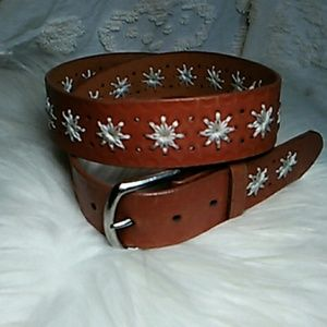 Tooled and embroidered leather belt