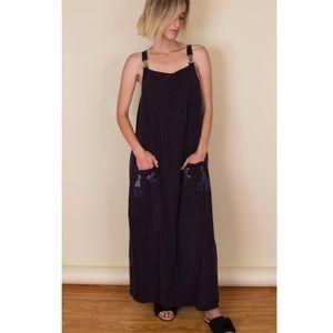 Vintage 90s overalls minimalist maxi dress