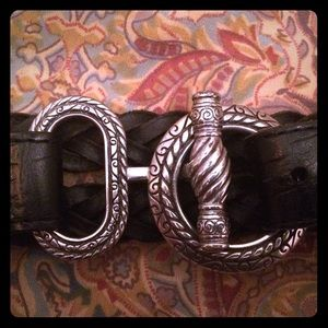 Brighton 90's silver & black braided leather belt