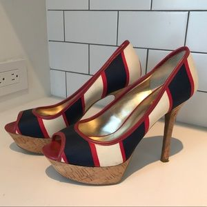Peep toe navy white & red heels