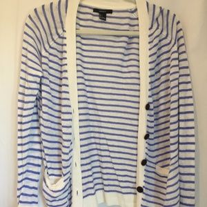 Blue and White Striped Cardigan