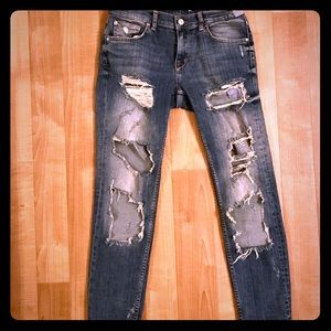 Zara relaxed fit distressed jeans.