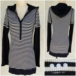 Three Dots Striped Thermal Hoodie Tunic