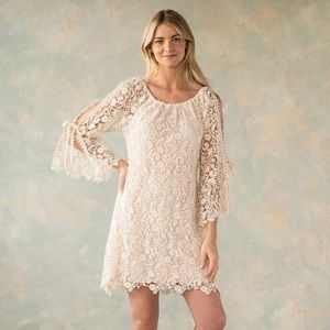 Cotton lace dress. On or off-shoulder fit.