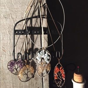 Hand wrapped crystal chip Tree of Life pendants
