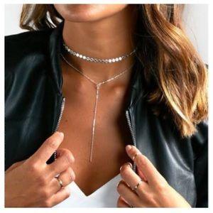 📍Silver Choker Tassel Necklace