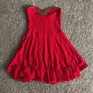 Free People Red Lace Beaded Strapless Mini Dress