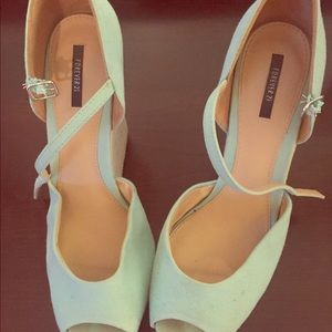Sea Green and Tan Platform Wedges
