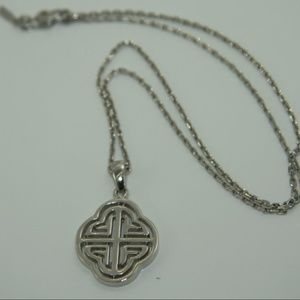 Monet Silver Tone Necklace with Pendant