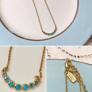 Kate Spade New York necklace gold blue stone