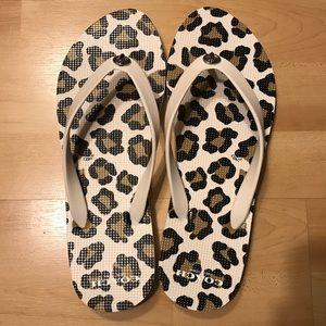 Coach Alyssa White Leopard Flip Flop Sandals