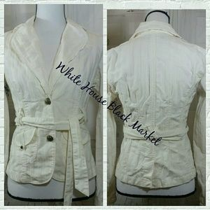WHBM Cream Women's Blazer Jacket Size 2