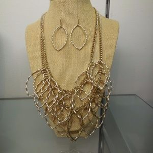 2 pc Set Chandelier Gold Plated Necklace+earrings
