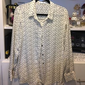 Beige blouse with navy stars
