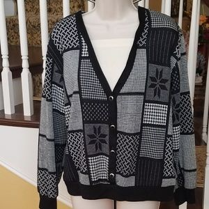 Alfred Dunner holiday cardigan w/ built in shirt M