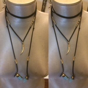 Boho Leather and Gold Chocker with moon