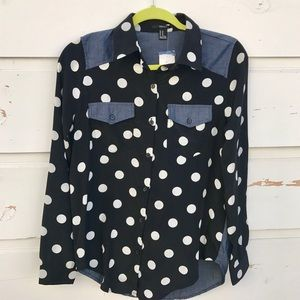 Forever 21 polka dots denim shirt