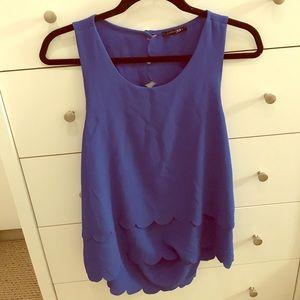 Cobalt blue scalloped blouse